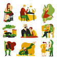 alcohol addiction flat icons set vector image
