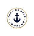 anchor silhouette and ropevintage stamp logo vector image