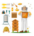 apiculture icons with beekeeper in hiver suit vector image
