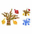 autumn tree mosaic icon spheric items vector image vector image