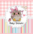 baby shower greeting card with owl vector image vector image