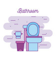 bathroom toilet and paper trash can image vector image vector image