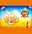 beer ads frothy mug and wheats on field bokeh vector image vector image