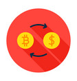 bitcoin exchange circle icon vector image