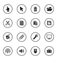 black flat computer and technology icon set vector image vector image