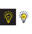 bulb light idea doodle hand drawn symbol vector image vector image