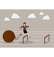 Business woman jumping over hurdle with the weight vector image vector image