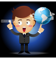businessman spinning globe and pointing search bar vector image vector image