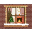 Christmas room through the window vector image vector image