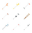 crutches injury support care icons set flat style vector image vector image