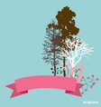 Cute card with ribbon trees and floral bouquets vector image vector image