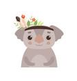 cute coala bear animal wearing headdress vector image vector image