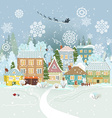Cute winter cityscape Merry Christmas vector image vector image