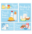 dairy product cheese and milk set cards vector image vector image