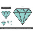 diamond line icon vector image vector image