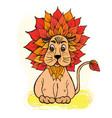 doodle cute lion with a mane color orange vector image vector image