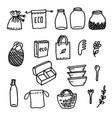 eco doodle bags cans zero black contour vector image vector image