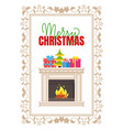 fireplace made marble with burning fire logs vector image vector image