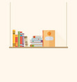 flat bookshelf with long shadow icon modern vector image