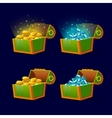 Green Chest set for game interface vector image vector image