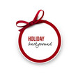 greeting round with red bow vector image vector image