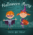 halloween flat with children trick or treating in vector image