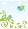 Happy easter card with birds and eggs in the nest vector image