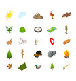 hiking in a park concept icon set 3d isometric vector image vector image