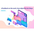 isometric users write feedback about services vector image vector image