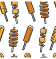 korean street food seamless pattern meat potato vector image vector image