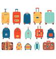 luggage bags vacation baggage plastic metal vector image vector image