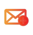 Mail sign with add mark Orange vector image