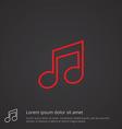 music outline symbol red on dark background logo vector image vector image