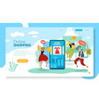 online shopping page mobile shop with happy man vector image