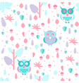owl in leaves pattern vector image vector image