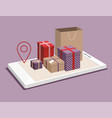 paper bag and gift boxes on smartphone vector image vector image