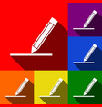 pencil sign set of icons vector image vector image
