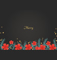 pine leaves and red hibiscus flower on background vector image vector image