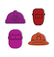protect helmet icon set color outline style vector image vector image