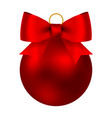 red christmas ball on a ribbon with a beautiful vector image vector image