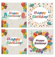 set birthday card with cute birdsflowers and vector image