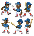 set cartoon black boy baseball player vector image