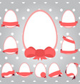 set easter eggs with ribbon vector image vector image