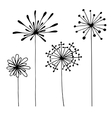 Set of abstract black hand drawn flowers in doodle vector image