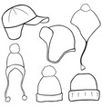 set of different winter hats vector image