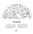 set of hand drawn sketch camping equipment symbols vector image vector image