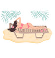 sunbathing w oman in a lounge chair dressed vector image