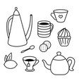 tea time set of tea pots coffee cups cakes vector image