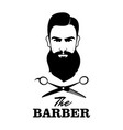the barber handsome man with beard and mustache vector image