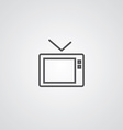 tv outline symbol dark on white background logo vector image vector image